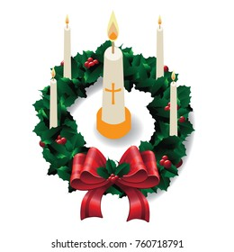 Advent Wreath to celebrate the four weeks leading up to Christmas. EPS 10 vector illustration.