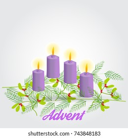 Advent wreath with four candles isolated,vector illustration onn simple background