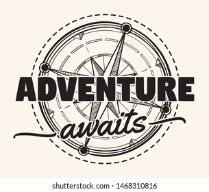 Adventure awaits - compass wind rose decorative monochrome emblem