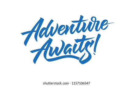 Adventure Awaits hand drawn brush lettering
