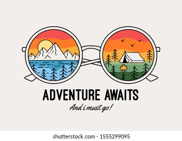 Adventure awaits text with mountains and camping theme illustrations in glasses. Vector graphic for t-shirt prints, posters and other uses.