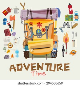 adventure backpack with traveller objects in round frame. adventure time concept. typographic wood design for header - vector illustratoin