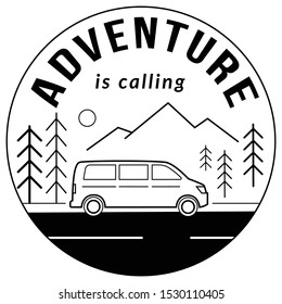 Adventure is calling. Road trip touristic location, landscape with mountains and forest trees drawn with black contour lines on white background. Monochrome vector illustration. Print design