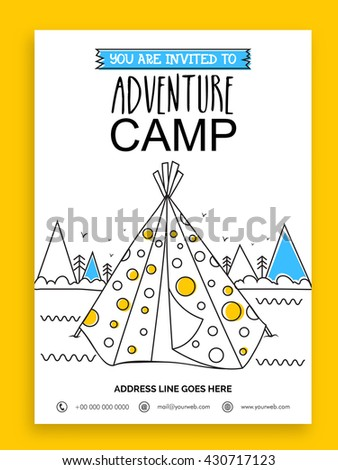 adventure camp template summer camp banner stock vector royalty