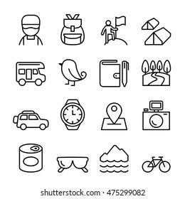 Adventure & Camping icon set in thin line style