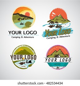 Adventure and camping logo template set - vector illustration