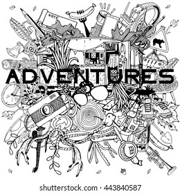 Adventure Camping objects in round collage. Adventure time concept.
