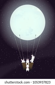 Adventure Of Four White Rabbits On The Space With Moon Balloon Art - Vector