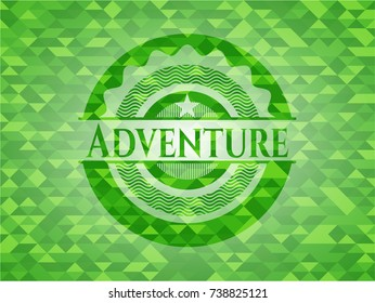 Adventure green emblem with mosaic background