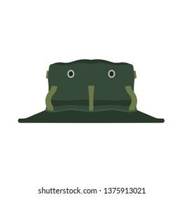 Adventure hat vector icon cartoon travel. Safari explorer head symbol accessory. Jungle cap hiking uniform tropical