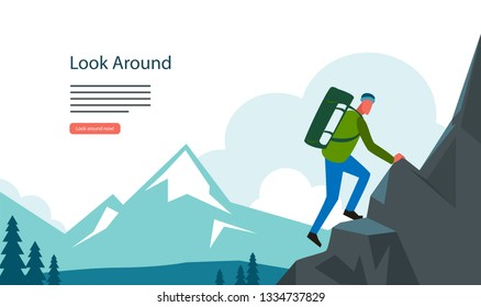 Adventure hiking, mountian landscape with tourist. Climbing