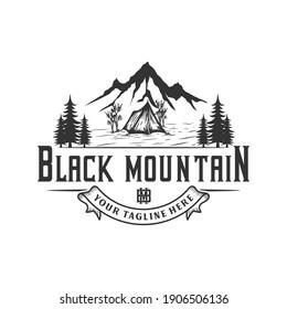 Adventure hiking peak mountain, illustration logo design