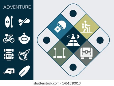 adventure icon set. 13 filled adventure icons.  Collection Of - Tent, Caravan, Surfboard, Backpack, Compass, Bike, Aqualung, Kayak, Hiking, Parachute, Trapeze, Chest