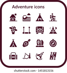 adventure icon set. 16 filled adventure icons.  Simple modern icons about  - Cabin, Roller coaster, Tent, Hiking, Hot air balloon, Trapeze, Chest, Compass, Surfboard, Sport bag