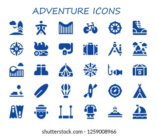 adventure icon set. 30 filled adventure icons. Simple modern icons about  - Surfboard, Wingsuit, Roller coaster, Bike, Helm, Boots, Windrose, Campfire, Dive, Travel bag, Compass