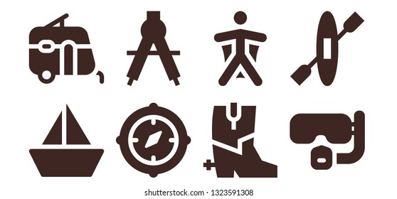 adventure icon set. 8 filled adventure icons.  Simple modern icons about  - Sailboat, Caravan, Compass, Boots, Wingsuit, Dive, Kayak
