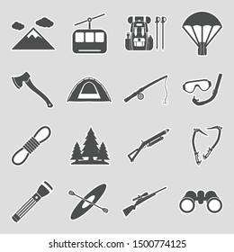 Adventure Icons. Sticker Design. Vector Illustration.