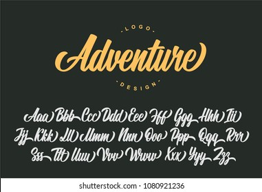 Adventure lettering alphabet. Vector font.