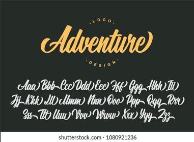 Adventure lettering alphabet. Vector font.