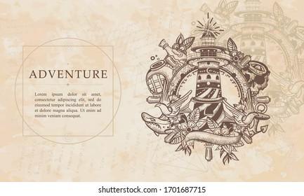 Adventure. Lighthouse. Sea adventure. Beacon, steering wheel, shark, anchor. Renaissance background. Medieval manuscript, engraving art