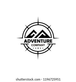 Adventure logo design with mountain and compass vector