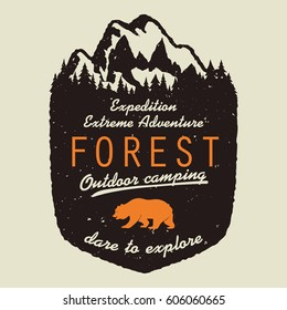 Adventure logo. Outdoor expedition typography, poster with mountains and pine trees. Climbing, Trekking, Hiking, Mountaineering stamp, hipster wear emblem. vector