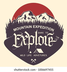 Adventure logo. Outdoor Mountain expedition typography, poster with mountains, tourist tent, bonfire and pine trees. Climbing, Trekking, Hiking, Mountaineering stamp, hipster wear emblem. vector