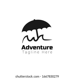 Adventure Logo Template for your company or business. Umbrella above mountain