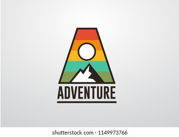 Adventure mountain badge logo template with initial A