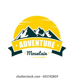 adventure mountain badge logo template のベクター画像素材