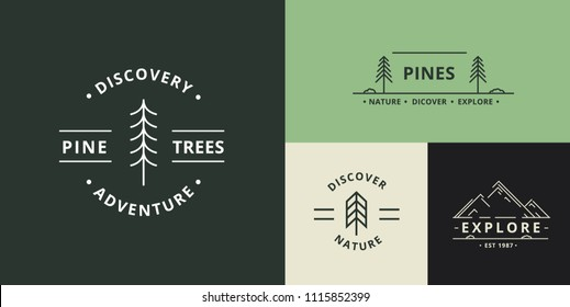 Adventure Nature Badges Vector Illustration