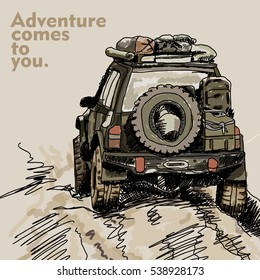 adventure off road car illustration for print