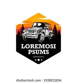 Adventure off-road vehicle logo, sticker template