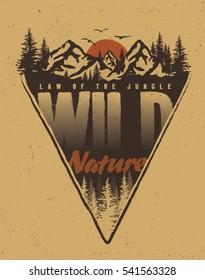 adventure and outdoor. college. trekking. vintage tee print design.