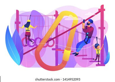 Adventure park, tourists extreme activity for adults and children. Summer ropes course, nature outdoor challenging, best ropes courses here concept. Bright vibrant violet vector isolated illustration