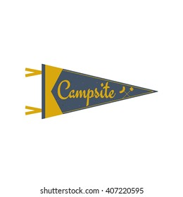 Adventure pennant. Campsite Pennant. Explorer flag design. Vintage camping template. Travel style pennant with summer camp symbols tent, trees. For Summer campsite or campground old style.