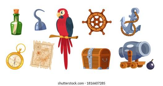 Adventure pirate set. Pirate ship equipment, treasure box, weapon, parrot, compass, map, treasure chest, bottle of rum, hat, flag, pistol, steering wheel, anchor. Symbols of sea adventure vector