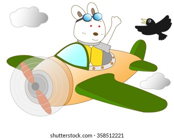The adventure in the propeller plane of the rabbit.