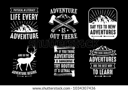 Adventure Quotes Sayings 100 Vector Best Stock Vector Royalty Free