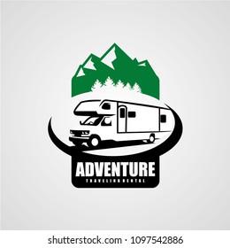 Adventure RV Camper Car Logo Designs Template