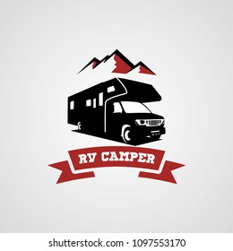 Adventure RV Camper Car Logo Designs Template