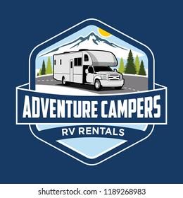 Adventure RV Camper Car Logo Designs