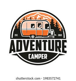 Adventure RV Trailer Camper Logo Vector Isolated EPS. Ready made logo template set vector isolated