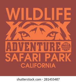 Adventure safari tiger typography, t-shirt graphics, vectors