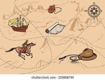 Adventure seamless pattern. Map of treasure with rider and compass. Vector
