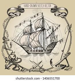 Adventure stories. Pirate background. Vintage border frame. Old caravel, vintage sailboat, sea monster.