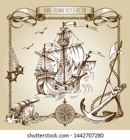 Adventure stories. Pirate background. Vintage border frame. Old caravel, vintage sailboat. Cannon, ghost ship, shipwreck, sea battle