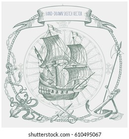 Adventure stories. Pirate background. Vintage border frame. Old caravel, vintage sailboat, sea monster.