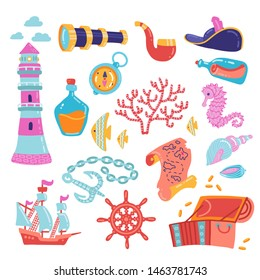 Adventure symbols set vector illustration. Treasure chest anchor lighthouse compass map spyglass bottle of rum and steering wheel signs flat hand drawn kid style concept.