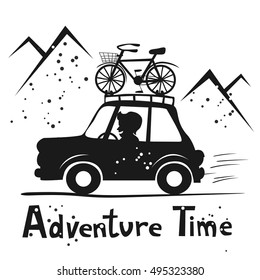 Adventure time. Happy man traveling by car with bike mounted on the roof. Cutout vector illustration. Cartoon style. Concept for sport, road trip, mountain biking, vacation, car travel etc.